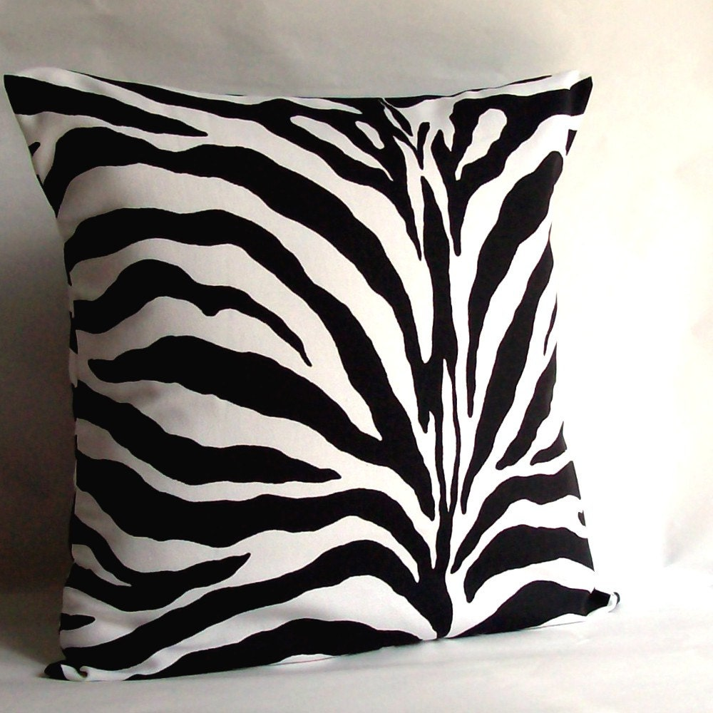 Zebra Decorative Pillow Cover Black and White Animal Print