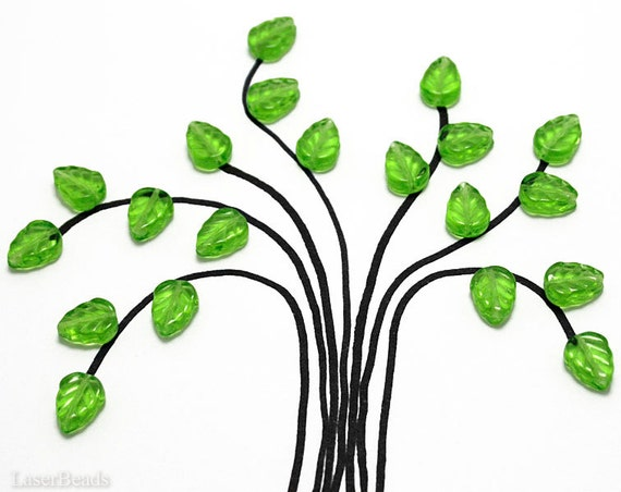 Bright Grass Green Czech Glass Leaf Beads 10mm (30) Pressed Leaves Tree jewelry making craft supplies