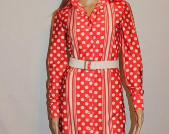 Vintage 70's Red and White Dress - Polka Dots and Stripes - Shirt Dress - Nylon Dress - Christmas Red -