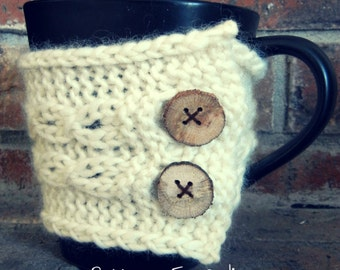 Button-Up Coffee Cozy KNITTING PATTERN easy beginner intermediate cables buttons quick fast knit