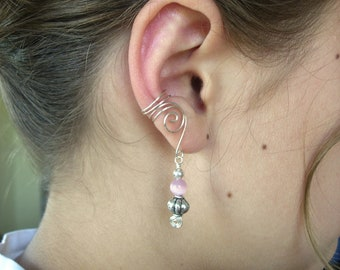 Earcuffs, Ear Wraps, Pair of Silver Ear Cuffs with antique Silver tone and Pink Cats Eye Glass Beaded drops, non pierced