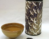 Recycled Paper-Covered Tea Tin - Purple and Gold Crane Chiyogami Paper