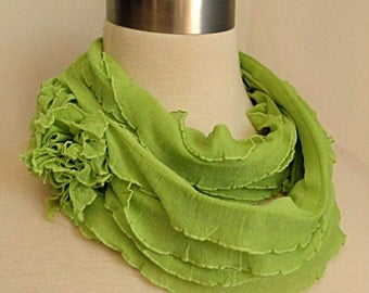 Chartreuse Infinity Scarf -  Apple Green Ruffled Scarf