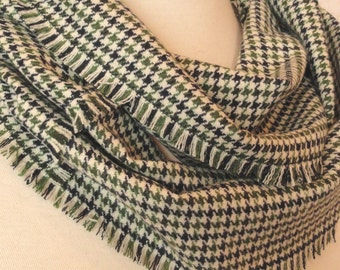 Green, Blue Plaid Infinity Scarf  - Woven Wool Scarf .