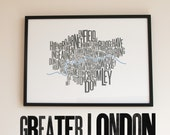 Greater London Font Map. 2-Colour Screenprint, 700x500mm