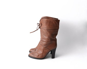 Vintage leather tan brown heeled pirate women boots