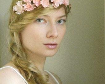 Rustic Blush 'Liesl' Wedding Flower Hair Piece - Pink Cherry Blossom Rustic Woodland Wedding