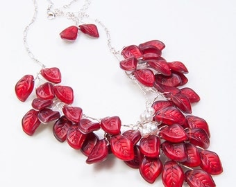 Red Statement Necklace, Red Bridal Necklace, Red Bib Necklace, Red Floral Necklace, Leaf Necklace, Nature Jewelry, n240