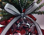 Black Swirl Flocked Christmas Ornament embellished with swarovski crystals