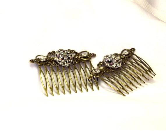 2 Rhinestone Button Hair Combs