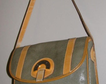 TED LAPIDUS Leather 90's Purse // Vintage GREEN Reptile Brown Paris France
