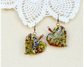 SALE Dangle earrings Fall Leaves Bright large colorful Free shipping