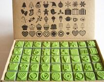 Rubber Stamp Scrapbook stamp, Christmas stamper, santa, snow man, gift, cane, cake heart, high quality stamper , 45 stamps, wedding, favor