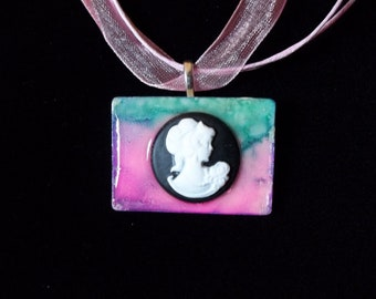 OOAK Victorian style cameo on altered art alcohol ink dyed handcrafted Rummikub Game Piece Pendant Necklace