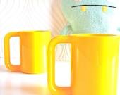 Set of 2: Vintage Yellow Melamine Mugs