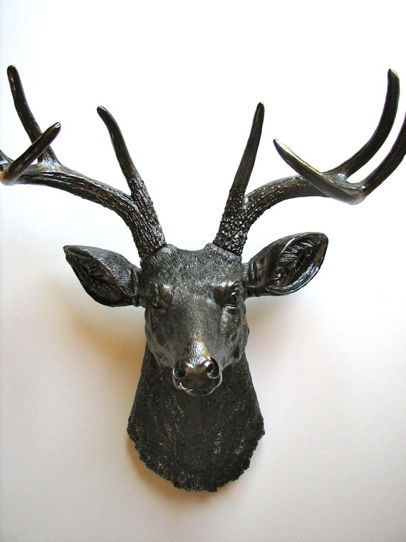 Faux Taxidermy Deer Head Deerman the Animal Head wall hanging in brown-black also for Halloween decor