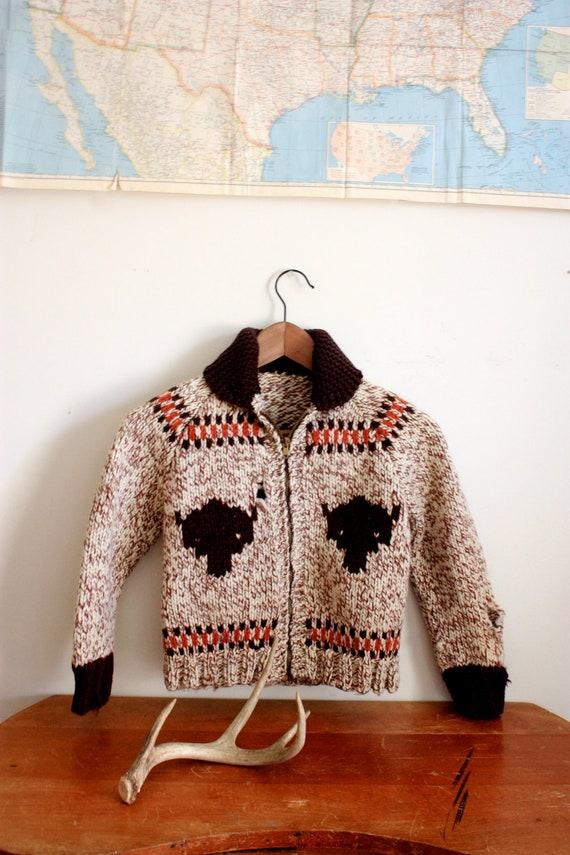 "Vintage ""From Buffalo To Washington"" Thick Winter Boys Buffalo Collared Zip Up Sweater"