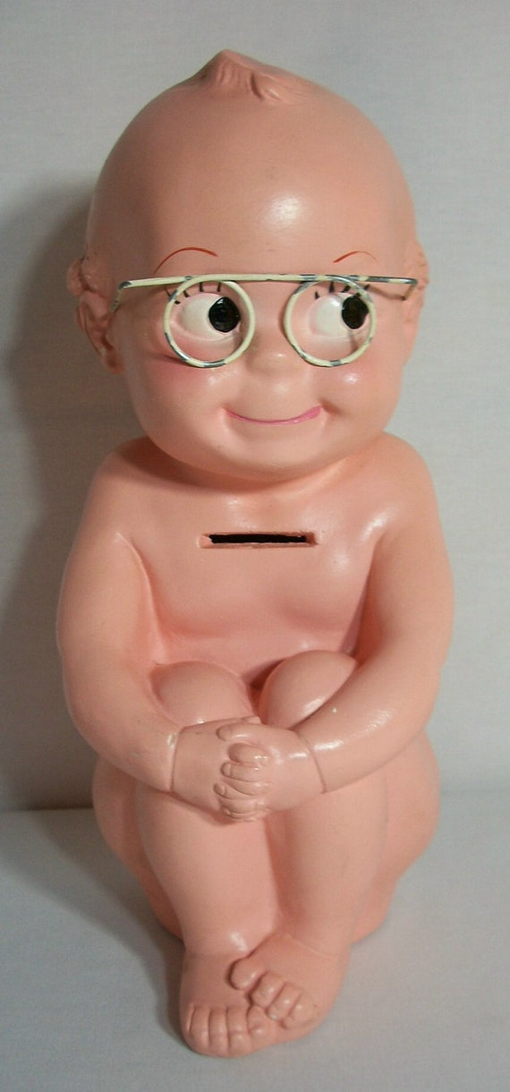 Vintage A N Brooks Corp Baby Kewpie Chalkware Piggy Bank