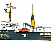 sandy hook pilot boat New York: ship print / nautical illustration