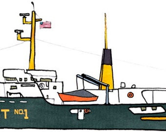 sandy hook pilot boat New York: ship print / nautical illustration