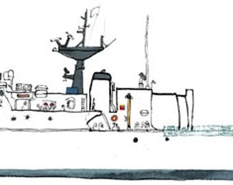 USCGC Escanaba (WMEC-907) : nautical print / ship illustration