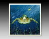 Green Sea Turtle Ceramic Wall Tile with Hook or Coaster