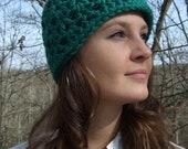 Chunky Crochet Hat, Womens, Emerald Green, Lacy- Handmade