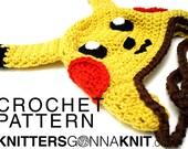 pikachu earflap hat crochet pattern - digital pdf instant download