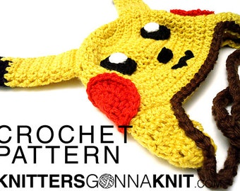 pikachu earflap hat crochet pattern - digital pdf instant download