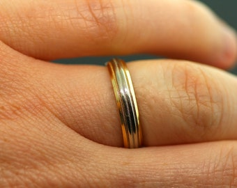 Vintage 1940's Wedding Band-14k White and Yellow Gold