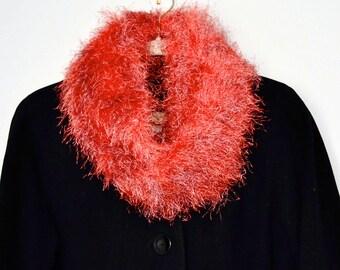 Pink Scarf Orange Scarf Hand Knit Scarf Fuzzy Scarf