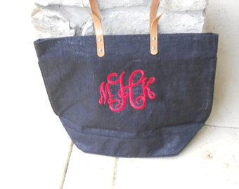 Monogrammed Navy Jute Bag Font Shown Interlocking in Hot Pink