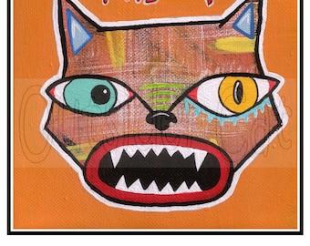 "Outsider Folk Art Cat Print, ""Mad Cat"", Original Sweet Ugly Cat Art Print, Raw Cat Art, Comical Ugly Cute Outsider Cat Art by Windwalker Art"
