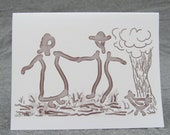 Folk Art Card 'Folk Dancers' Valentine, Birthday or Anniversary card