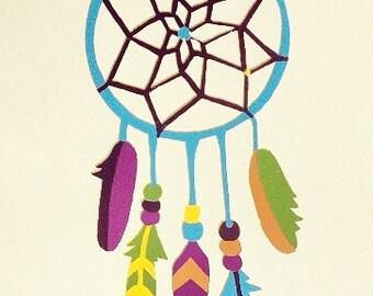 Colorful Dream Catcher Silkscreen Print Wall Art
