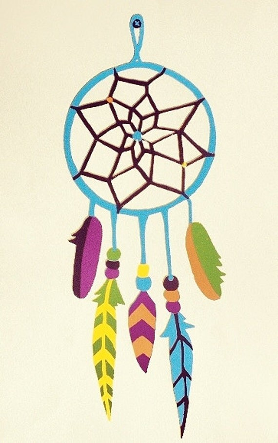 Items similar to Colorful Dream Catcher Silkscreen Print ...