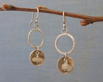 rough diamond earrings - Lantern earrings - sterling silver and diamond - rustic silver earrings