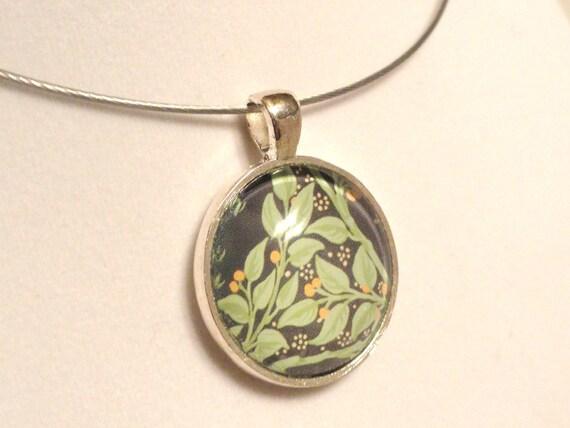 SALE - Art Glass Pendant - Abstract Leaf Design