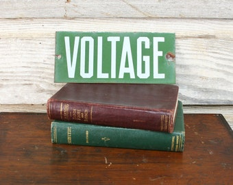 Vintage Industrial Voltage Sign -- Enamel Electric Fence Sign