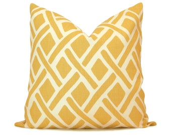 Trellis Decorative Pillow Cover in Yellow & Ivory - Kravet Treads Sunflower - Throw Pillow - Accent Pillow