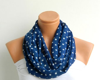 blok scarves,polka dot scarf,Darkblue and white polka dot Infinity Scarf  Chiffon Loop Infinity Scarves. Circle Scarf ,Womens Accessories.