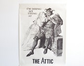 Vintage Theater Poster - The Attic - Woodcut - Halloween
