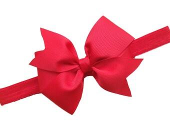 Red headband with red bow - red baby headband, red newborn headband, red elastic headband, red Christmas headband