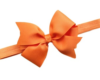 Orange baby headband - orange bow headband, orange newborn headband, bow headband, baby bow headband, orange headband