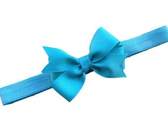 Turquoise bow headband - turquoise baby bow headband, baby headband, newborn headband, 3 inch bow headband, turquoise headband