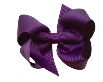 4 inch dark purple boutique bow - dark purple bow, purple hair bow, toddler bow, 4 inch bow, girls bow