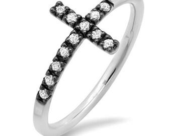White Diamond Sideways Cross Ring
