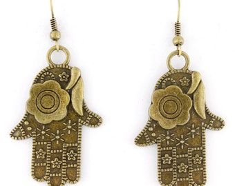 Pretty Gold-tone Double Sides Flower Hands Dangle Earrings