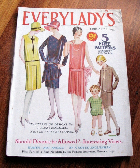 Vintage 1929 Everylady's  Magazine with 3 unused patterns