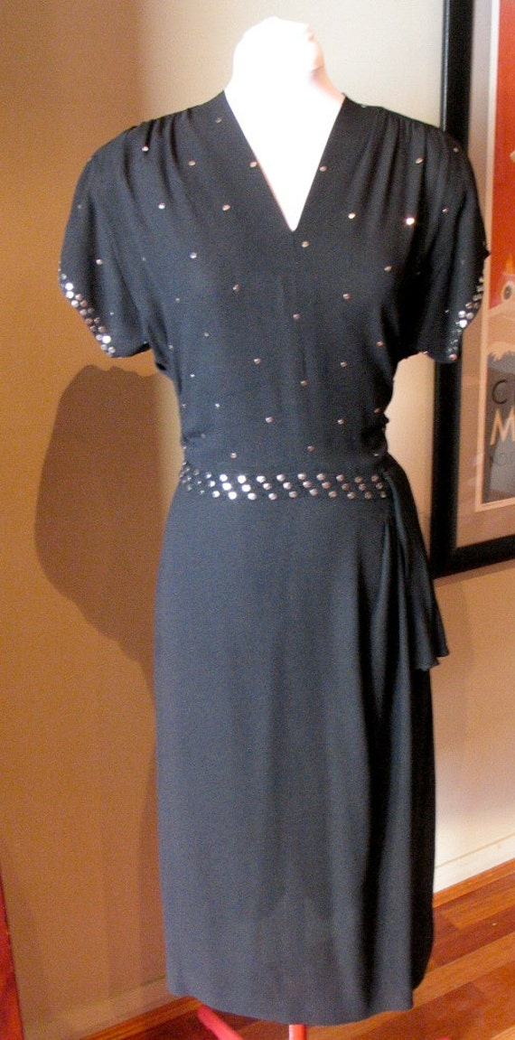 Vintage 1940s Black Crepe 'Silver Sequined' Gown - M to L
